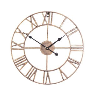 40 50cm Nordic Metal Roman Numeral Wall Clocks Retro Round Large Mute Wall Clock Hollow Quartz Watch Outdoor Home Decoration