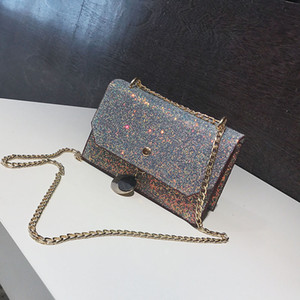And Handbag Chain Small Star Square Shoulder Bag Straddle Women's Bag Fresh Single Fashionable Sequin 12*19*7cm Elpft