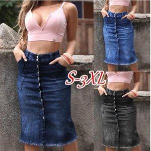 2019 Womens Saia джинсов feminina мыть ногти кнопки джинсы юбки Тонкой юбки тонкого денима