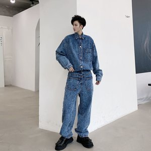 EWQ   men's wear 2020 Autumn new elastic waist male's long sleeve trousers denim one-piece jumpsuit single breasted 9Y3739 1004