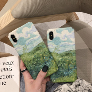 Korean Oil Painting Mobile Phone Case For iPhone 11 Pro X XR XS Max 7 8 Plus Couple Matte Hard Back Cover Popular