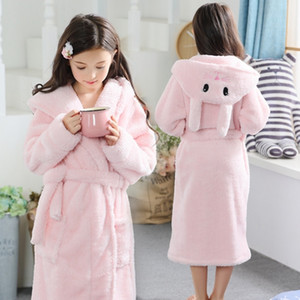 Bathrobe for girls 2-13Y Hooded Flannel Terry bathrobe Pink rabbit baby bathrobe with a hood for children winter russia kids 201225