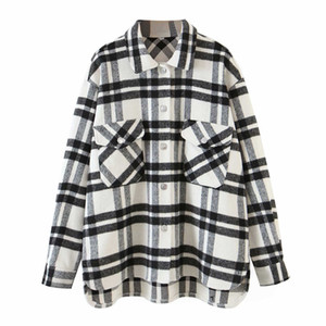 Dewadbow Womens Plaid Blouses Long Sleeve Lapel Button-down Shirts Wool Blend Shacket Coat Casual Tops Outwear with Pockets