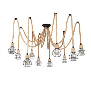 OOVOV industrial estilo retro cáñamo cuerda colgante lámpara barra de barra araña colgante iluminación lámparas lámparas accesorios DIY 10 luces