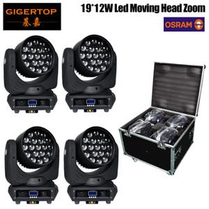 4 Pack TIPTOP Cielo Fascio Wash RGBW 4in1 Led Zoom Wash Moving Light 19X12W Dj capa commovente Dmx fascio di luce Zoom 4in1 flight case con ruote pacco