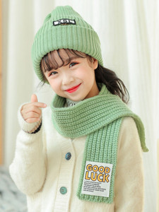 Girl Letter Beanies Hat Scarf Child Braided Cable Knit Beanies Hat And Long Scarves Set Kids 2020 Winter Warm Cap 2-6T C0092