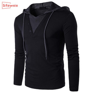 SITEWEIE Best Seller Men Sweatshirts Long Sleeve Solid Color V Neck Sportswear Mens Clothes Pullover Hooded Oversized Top G434