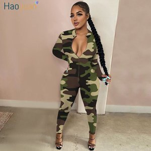 HAOYUAN Sexy Camo Leopard Rompers Womens Jumpsuit Fall Clthes One Piece Body Club Outfits Long Sleeve Zip Up Bodycon Overalls 201007