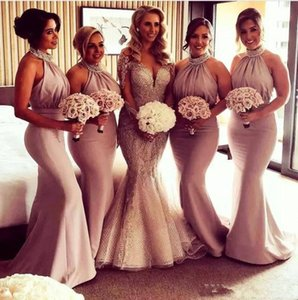 2021 Halter Maid Of Honor Dresses Evening Wear Beads Sequins Satin Country Mermaid bridesmaids dresses Long Pleas Low Back Sexy evening gown