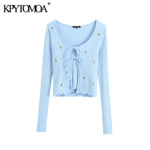 KPYTOMOA Mulheres Floral Moda Bordados recortada malha Cardigan Sweater Vintage Two Pieces Define Lace-up Feminino Casacos Y200915