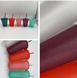 17ozoz ozoz en plastique de paillettes boire des gobelets coloré tasse avec couvercle et paille couleurs couleurs réutilisables boissons froides tasse tasse de bière café flash
