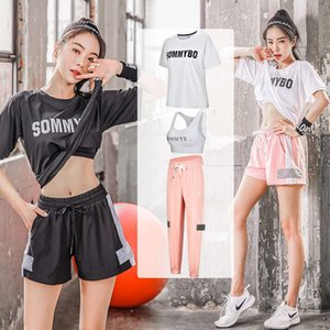 Net red fitness Yoga suit women's running quick dry clothes loose and slim large casual summer short sleeve sportswear