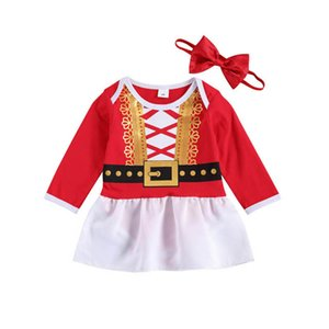 2020 Christmas baby romper dress+bowknot headbands 2pcs set cotton girls romper newborn rompers baby girl s clothes B3314
