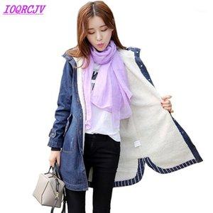 Jaquetas jeans para mulheres 2018 outono inverno flocando engrossar jeans casaco plus size hoodie winter denim jaqueta feminina ioqrcjv h5481