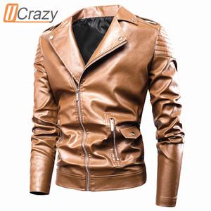 Ucrazy Erkekler Sonbahar Yeni Casual Moto Deri Ceket Coat Erkekler Moda Vintage Kıyafet Fermuar Sıkıntılı Sahte Deri ceketler Erkekler 201.015