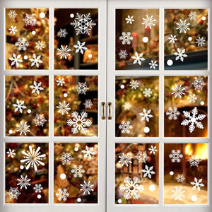 36pcs lot White Snowflake Christmas Wall Stickers Glass Window Sticker Christmas Decorations for Home New Year Gift Navidad 2020