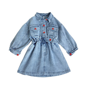 3 4 5 6 7 8 9 10 11Y New Toddler Kid Children Baby Girl Blue Denim Jeans Long Sleeve outfits coat Clothes Dress Fall Y200919