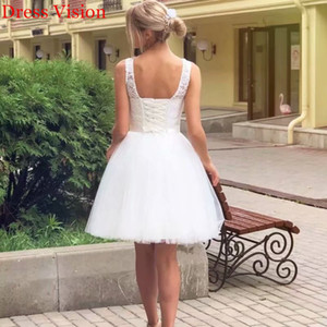 2021 New Short Lace Dress Marriage Backless Robe Soiree Bride to Be HBMV