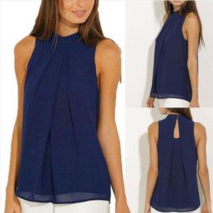 2021 Hot solid v neck Summer Navy Blue Fashion Women Vest Womens Chiffon Tops Ladies Sleeveless T Shirt Dress Size S XL