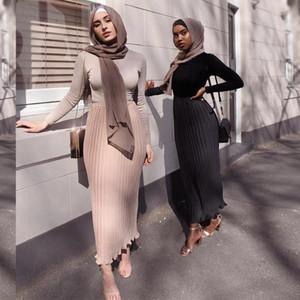 Siskakia mode en mousseline de soie Jupe plissée Euro America Double couche Maxi Empire solide douces fraîches filles musulmanes Jupe Eid