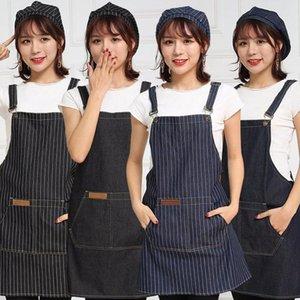 Einstellbare Denim Startseite Restaurent Küche Cooking Chef Baking Kleid Schürze mit Taschen Küchen-Zubehör