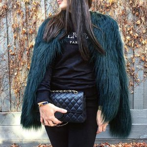 Autumn Winter jacket women Hairy Collarless Overcoat Fashion Furry Faux Fur Coat Women Fluffy Warm Long Sleeve Female Outerwear