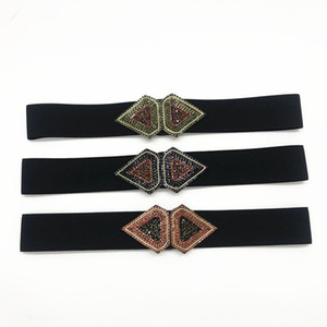 High Quality silk Waist Belt Women Handmade Geometric Rhinestone Elastic Stretchy Slim Corset Dress Shirt Strap Belts