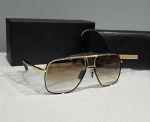 Occhiali da sole quadrati Black Gold Grigio Grigio Grigio Lens 2087 Gafas De Sol Uomini Occhiali da sole Occhiali da sole Tonalità vintage Nuovo con scatola
