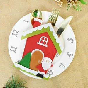 1pc Santa Felt Fork Knife Cutlery Holder Bag Christmas Party Tableware Cover Noel Navidad Table Decorations For Home