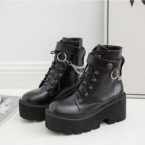 Boussac Metallketten klumpige Plattform-Frauen Stiefel-runde Zehe Martin Stiefel Damen Winter Black PunkGoth Stiefel SWE0872
