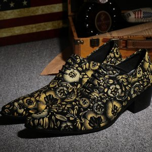 Hot Sale-Christia Bella Floral Men Party Dress Shoes Mid Heel Real Leather Oxford Shoes Pointed Toe Wedding Lace Up Men Footwear