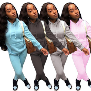Women solid color sportswear 2 pieces set s-2xl sweatshirt Leggings tracksuits Fall Winter clothing hoodies pants outfits jogging suits 3980