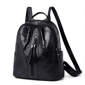 Womens waterproof genuine leather backpack fashion bag Preppy Style schoolbag school bag pack book travel for female 2019