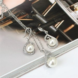 Imitation Pearl Necklace Rhinestone Ear Studs Kit Silver Plating Women Alloy Charm Chain Statement Fashion Jewelry 3 76ly L2