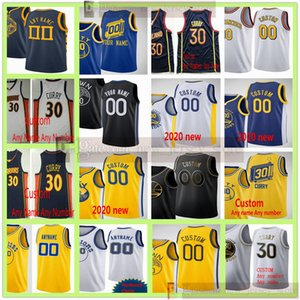 Personalizzato 2021 Stampato Andrew Wiggins 22 Stephen Curry 30 Klay Thompson 11 Draymond 23 Green Marchese Chriss Damion Lee Poole Maglie