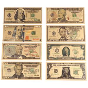 8pcs oro 24K placcato Dollari Note commemorative soldi falsi Gold Collection Antique 1 2 5 10 20 50 100 Dollar