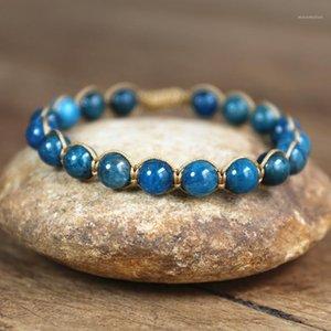 Natural pedra frisada apatite corda trançada pulseira amizade charme pulseira yoga cura boêmio handmade jóias1