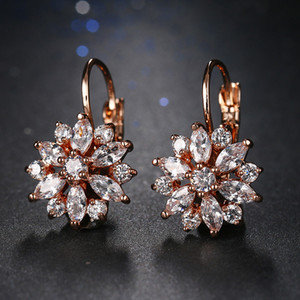 Gold Color Fashion Women Snow Flower Hoop Earrings Cubic Zirconia Earings Ear Hoop Wedding Party Jewelry Accessory ps1129