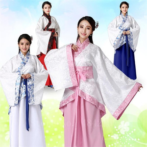 Elegant Woman Chinese Hanfu Dress Traditional Floral Print Stage Performance Oriental Ancient Fairy Retro Folk Dance Costume