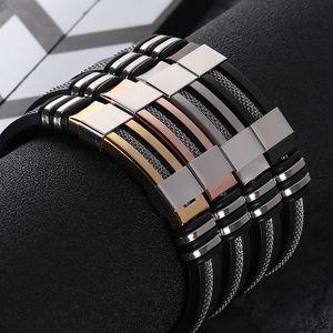 Stainless Steel Silicone Black Bracelet Men WristBand Punk Style New Design Men Bracelet Simple Rubber Charm Pulsera Hombre