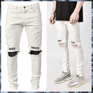 Hole Embroidered Jeans Fashion Trend New Casual Elasticity Trousers Designer Male Slim White Fit Zipper Jeans Man