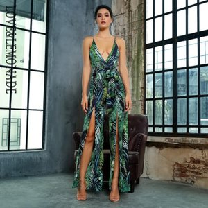 LOVELEMONADE V-Collo sexy cut-out Green Leaves tuta LM81419