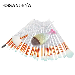 ESSANCEYA 21 Pcs Fish Mermaid Concealer Makeup Brushes Kit Rainbow Handle Make up Cosmetics Eyeshadow Foundation Powder Brush