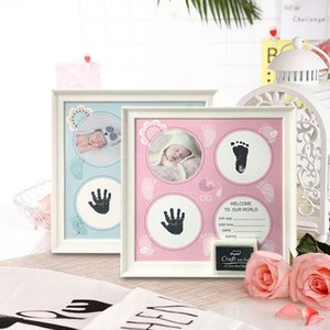 2020 Baby Photo Frame DIY Handprint or Footprint Ink Imprint Pitcture Birthday Gift for Baby Wall Picture Frame Home Decorations