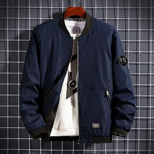 Thoshine Brand Spring Autumn Men Jackets Patch Designs Pockets Slim Fit Male Baseball Outerwear Jacket Solid Color Letter Coats 201022