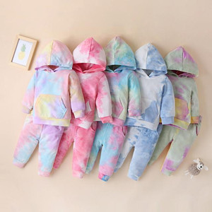 Kids Clothes Sets 2021 Spring New Baby Girls Boys Hoodies Suit Colorful Hooded Sweatshirt Pants 2pcs Children's Casual Sport Set