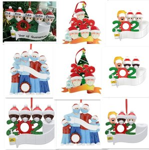 Christmas Quarantine Ornaments Customized PVC Personalized Family Of 5 Ornament Pandemic With Face Masks Hand Sanitized E101201
