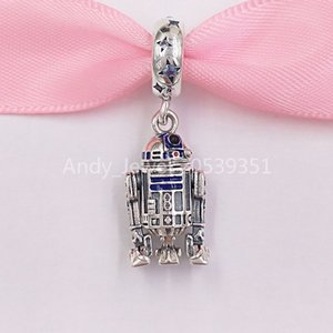 Otantik 925 Ayar Gümüş Boncuk R2-D2 Dangle Charm Charms Avrupa Pandora Tarzı Takı Bilezikler Uyar Kolye 799248C01