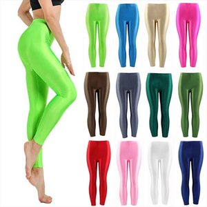 Women Pant For Girl Spandex Shiny Solid Color Fluorescent Leggings Casual Elastic High Quality Large Size 1PC Trousers 2020 New