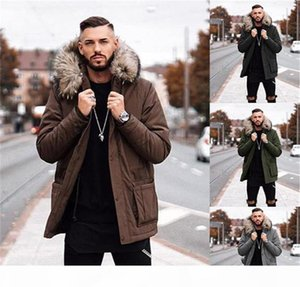 New Mens Winter Jacket Fashion Long Sleeve Solid Color Thickened Warm Hooded Coats Fashion Urban Mens Clothing